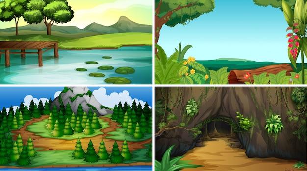 Vacío, escenas de la naturaleza del paisaje en blanco o fondo