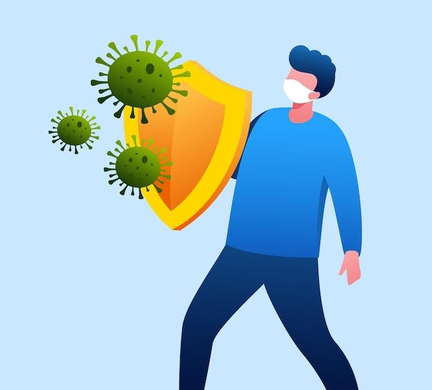 La vacuna protege al hombre del virus con la ilustración de vector plano de escudo