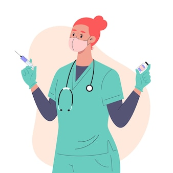 Vacunación e inyección, enfermera con máscara médica y guantes con vacuna.