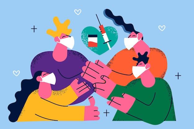 Vacunación familiar contra el covid, diseño de ilustraciones