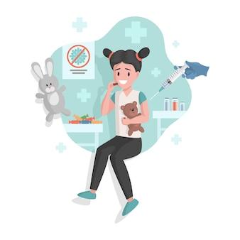 Vacunación de niña contra diferentes enfermedades ilustración de dibujos animados