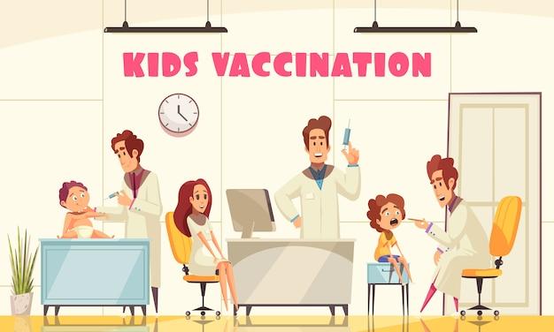 La vacunación de los niños ilustra cómo el personal médico vacuna a los pacientes jóvenes en la clínica plana