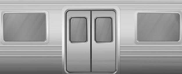 Vagón de tren con ventanas y puertas cerradas.