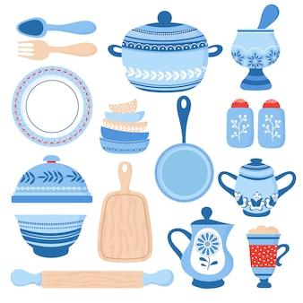 Vajilla de cocina de cerámica. tazones, platos y platos de porcelana azul.