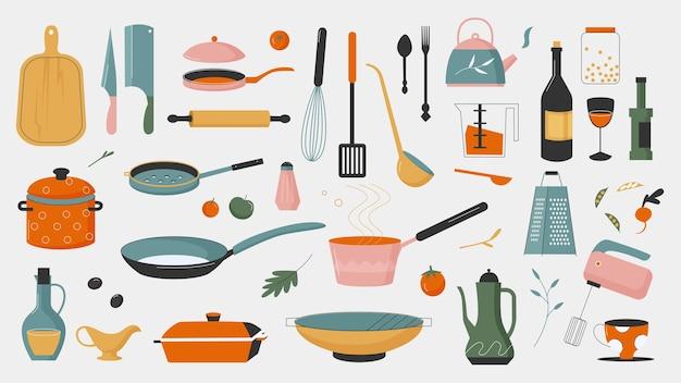 Vajilla, utensilios de cocina para cocinar conjunto de ilustraciones.