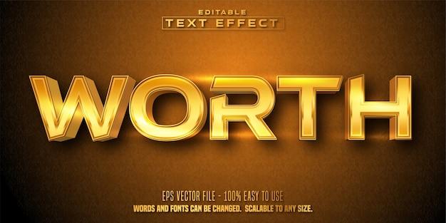 Vale la pena texto, efecto de texto editable estilo dorado