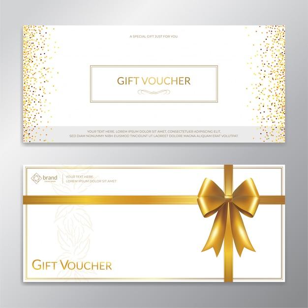 Vale de regalo con brillo dorado, certificado, cupón para la temporada festiva