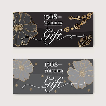 Vale de regalo con flor de oro