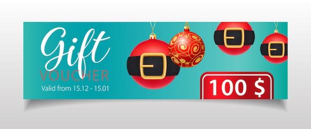 Vale de regalo con letras y adornos navideños con cinturones.