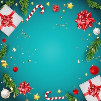 Vale de regalo de venta de navidad y año nuevo, ilustración de plantilla de cupón de descuento