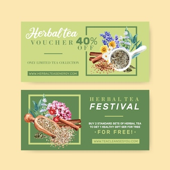 Vale de té de hierbas con lavanda, manzanilla, salvia, canela acuarela ilustración.