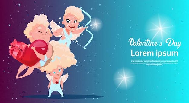 Valentine day gift card holiday amour love cupido en forma de corazón