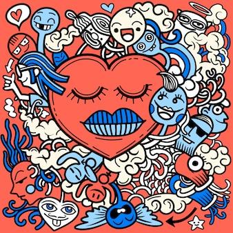 Valentine doodle mano dibujar amor, colección de elementos románticos.