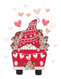 Valentine gnome en camión de flores rojas con corazón te amo bandera, plano de dibujos animados lindo