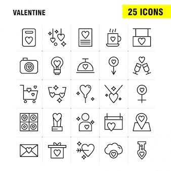 Valentine line icon pack para diseñadores y desarrolladores. iconos de calendario, amor, romántico, san valentín, té, taza, romántico, san valentín,