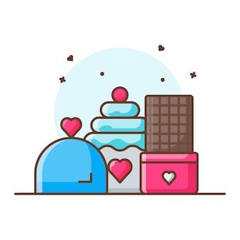 Valentine postre icono ilustraciones. concepto de icono de san valentín blanco aislado.