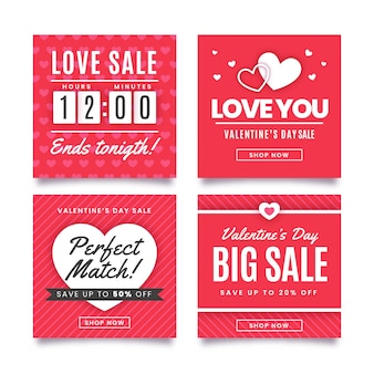 Valentine's day red sale instagram post collection