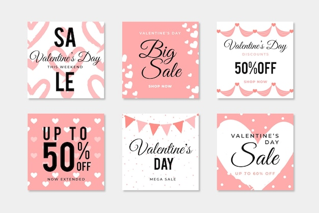 Valentine's day sale instagram post collection Vector Premium