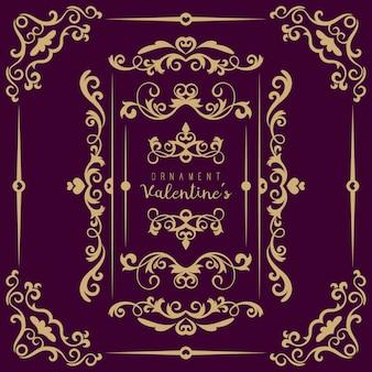 Valentine set con diferentes adornos florales en forma de remolino