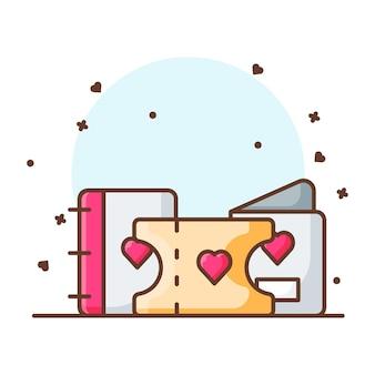 Valentine ticket icon ilustraciones. concepto de icono de san valentín blanco aislado.