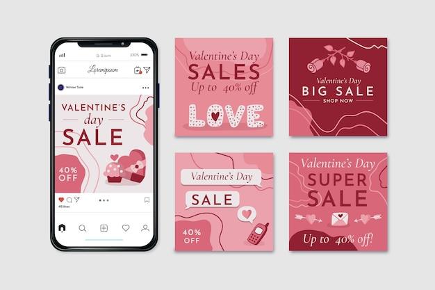 Valentines day sale instagram post set