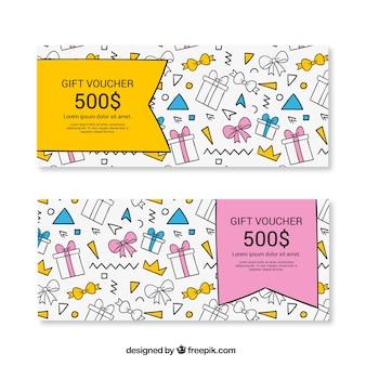 Vales de regalo coloridos con regalos dibujados a mano
