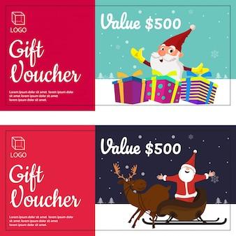 Vales de regalo de navidad feliz con papá noel feliz, cajas de regalo y renos.