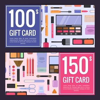 Vales de tarjetas de regalo para productos de belleza con maquillaje de estilo plano y cuidado de la piel aislados