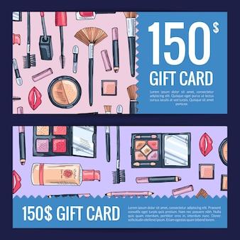 Vales de tarjetas de regalo para productos de belleza con productos de maquillaje dibujados a mano