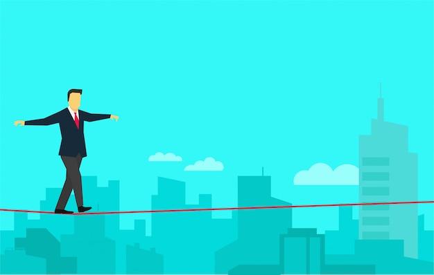Valiente empresario caminando sobre la cuerda floja en la ciudad panorámica.