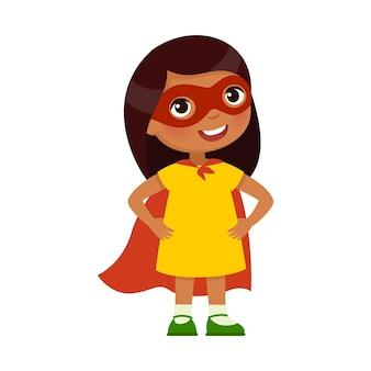 Valiente niña india en una pose heroica y un disfraz de superhéroe personaje de dibujos animados de piel oscura