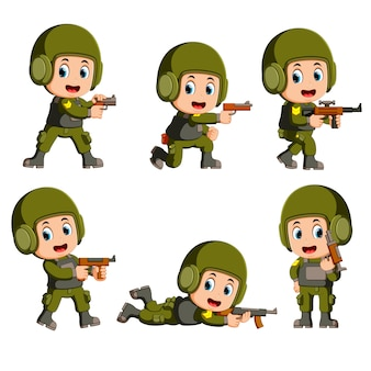 Un valiente soldado con un arma