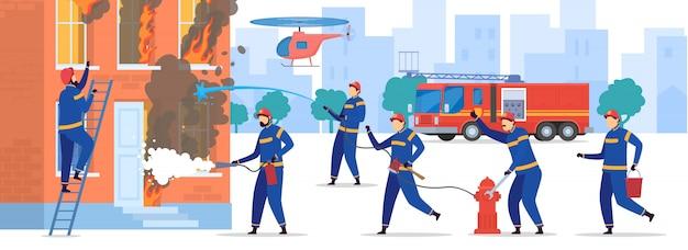Los valientes bomberos extinguen el fuego en la casa, ilustración de personas