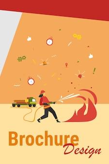 Valientes bomberos vestidos con uniforme y cascos contra incendios aislados ilustración vectorial plana. equipo de bomberos de dibujos animados regando el fuego. concepto de servicio de seguridad, rescate y emergencia
