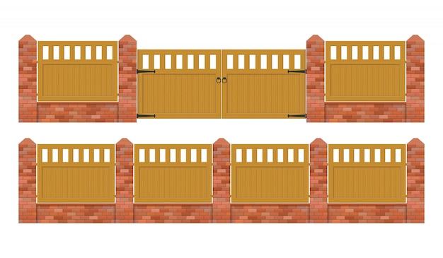 Valla de ladrillo con puerta de madera ilustración aislado sobre fondo blanco.