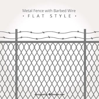 Valla de metal con alambre de espino en estilo flat