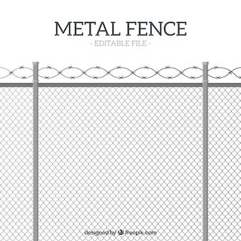 Valla de metal de estilo flat con alambre de espino