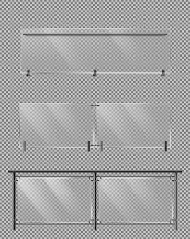 Valla de vidrio, conjunto de vector realista de barandilla de metal
