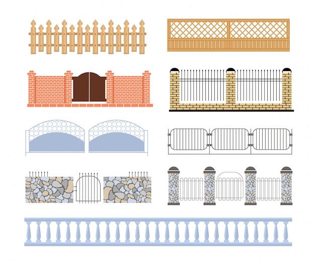 Vallas de diferentes diseños de conjuntos de materiales