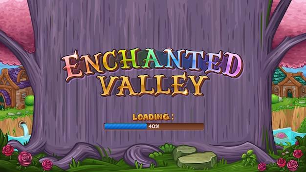 Valle encantado con logo y mágico árbol morado
