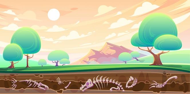 Valle y sección transversal del suelo con fósiles