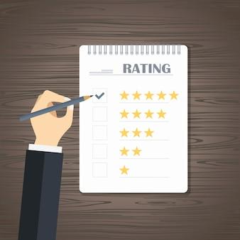 Valoración de la calificación de la página web y revisión