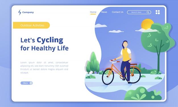 Vamos en bicicleta por una vida saludable en la plantilla de página de destino