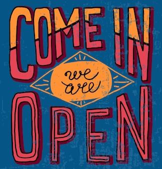 Vamos, estamos abiertos, dibujados a mano, restaurante, cafetería, hogar, tienda, vector, tipografía, letrero, cartel