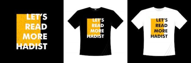 Vamos a leer más diseño de camiseta tipografía hadista