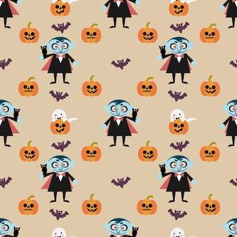 Vampire y calabaza de halloween de patrones sin fisuras
