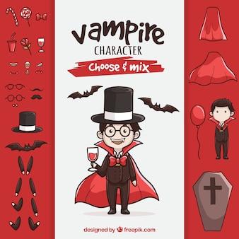 Vampiro con accesorios dibujados a mano