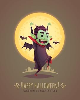 Vampiro asustando divertido. concepto de personaje de dibujos animados de halloween. ilustración.