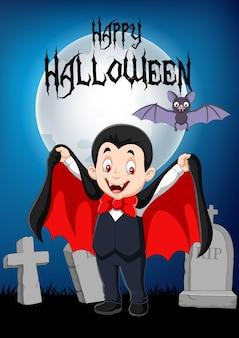 Vampiro divertido de dibujos animados con fondo de halloween