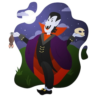 Un vampiro feliz con un murciélago y una calavera en sus manos celebra la fiesta de halloween